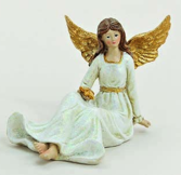 Ängel, sittande, vit-guld b